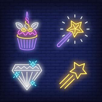 Ensemble de signes néon petit gâteau, étoile volante, diamant et baguette magique