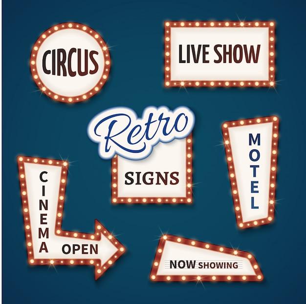 Ensemble de signes rétro ampoule au néon. cinéma, spectacle vivant, ouvert, cirque, maintenant, bannières de motel