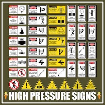 Ensemble de signes et de symboles de dangers à haute pression