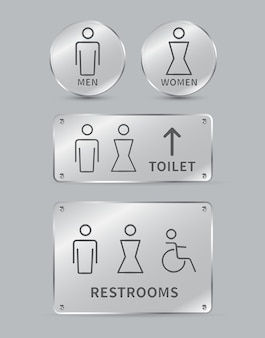 Ensemble de signes de toilette signe d'icône de toilettes pour hommes et femmes plaques de verre cercle et forme carrée