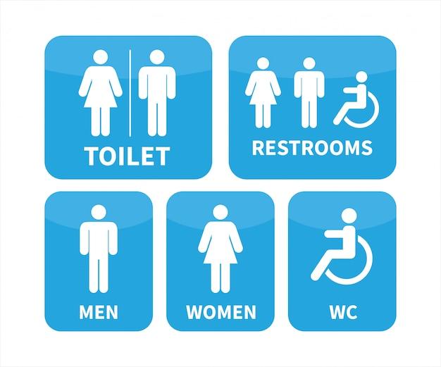 Ensemble de signes de toilettes.