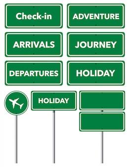 Ensemble de signes de vacances