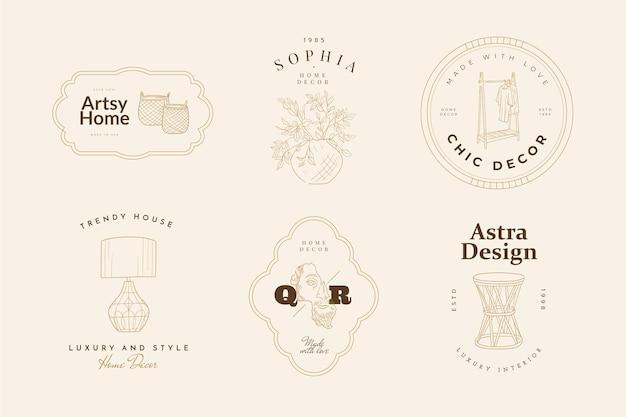 Ensemble De Signes Vectoriels Ou De Modèles De Logo Sweet Home Vecteur Premium