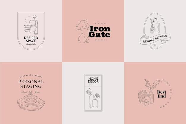 Ensemble de signes vectoriels ou de modèles de logo sweet home