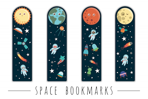 Ensemble de signets pour les enfants avec le thème de l'espace. planètes souriantes mignonnes, astronaute, vaisseau spatial, extraterrestre sur fond bleu foncé. modèles de cartes de disposition verticale. papeterie pour les enfants.