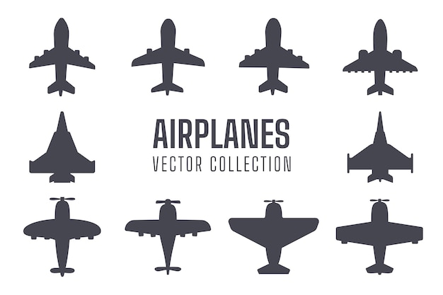 Ensemble de silhouette d'avion simple conception de silhouette d'avion de chasse avion de ligne isolée de l'arrière-plan