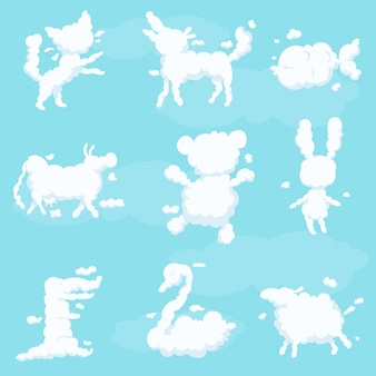 Ensemble De Silhouette Blanche De Nuages Animaux, Fantaisie Enfant Doux Rêves Illustrations Sur Fond Bleu Clair Vecteur Premium