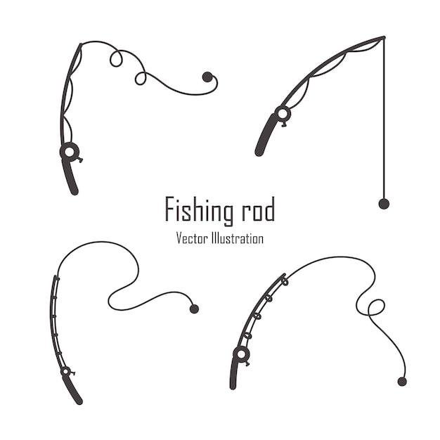 Ensemble de silhouette de canne à pêche