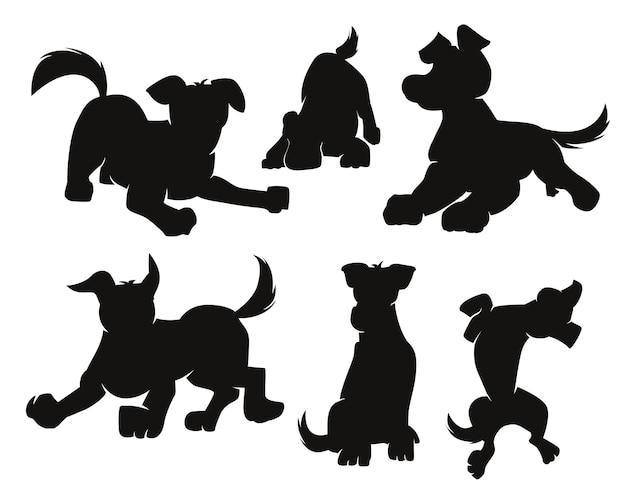 Ensemble de silhouette de chiens de dessin animé noir sur blanc