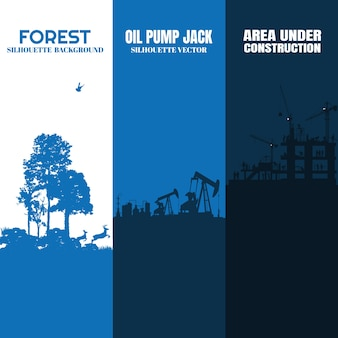 Ensemble de silhouette: construction, prise de pompe à huile, naturel.