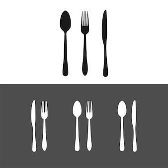 Ensemble silhouette cuillère, fourchette et couteau de cuisine