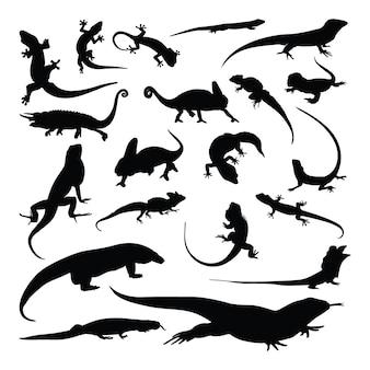 Ensemble de silhouette gecko lézard caméléon
