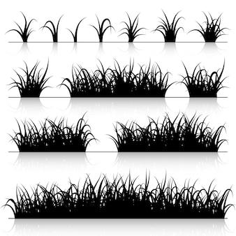 Ensemble de silhouette d'herbe