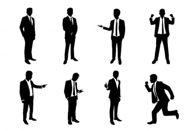 Ensemble de silhouette d'homme d'affaires