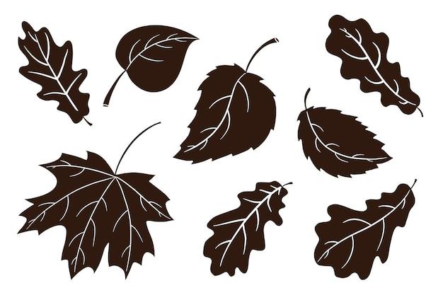 Ensemble de silhouette de nourriture de vacances d'automne. collection de plats traditionnels à la citrouille de thanksgiving. tarte à la citrouille sucrée et ombres de cupcake pour la décoration d'autocollants, d'invitations, de menus et de cartes de voeux. vecteur premium