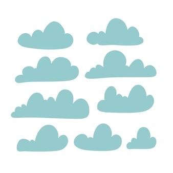 Ensemble de silhouette de nuage dans une collection de style plat simple de nuage icône forme étiquette symbole graphique ha...