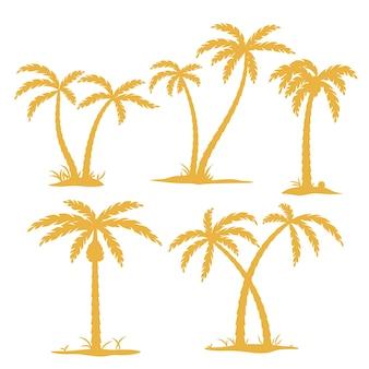 Ensemble de silhouette de palmier