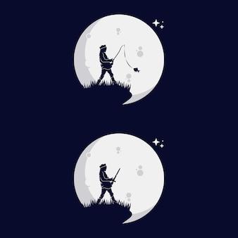 Ensemble de silhouette de petits enfants avec la lune