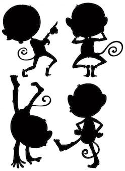 Ensemble de silhouette de singe