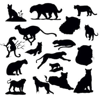Ensemble de silhouette de tigre