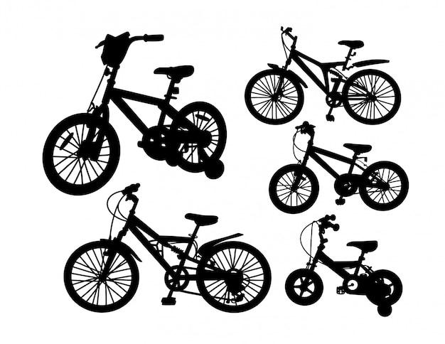 Ensemble de silhouette de transport de vélo