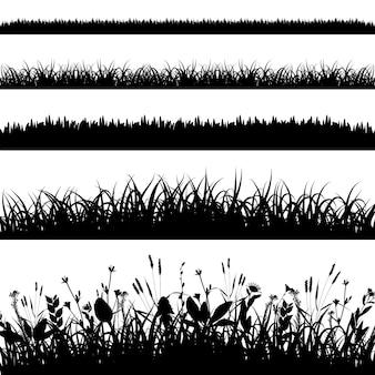 Ensemble de silhouette de vecteur de bordures d'herbe