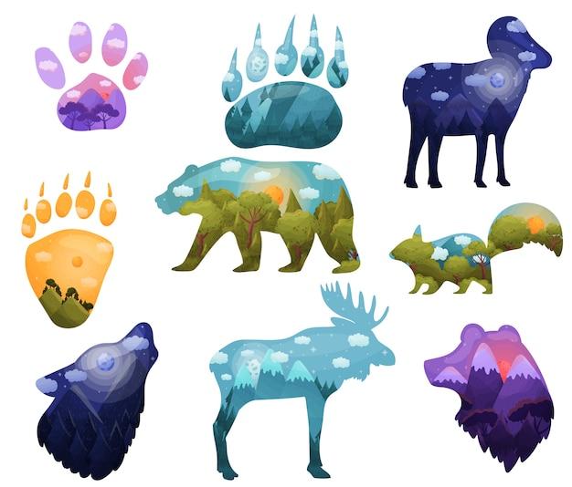 Ensemble de silhouettes d'animaux avec des paysages à l'intérieur