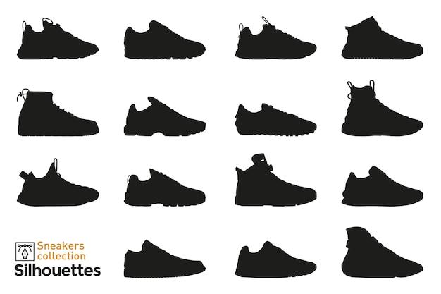 Ensemble de silhouettes de baskets pour homme et femme. éléments de mode. icônes de chaussures habillées pour.