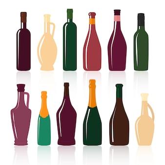 Ensemble de silhouettes de bouteilles de vin sur fond blanc.