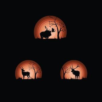 Ensemble de silhouettes de cerfs