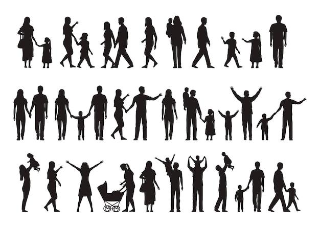Ensemble de silhouettes familiales