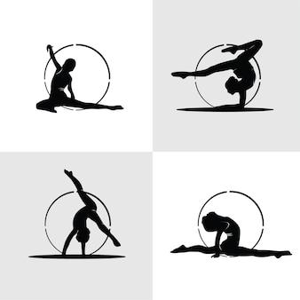 Ensemble de silhouettes de gymnastique élégantes