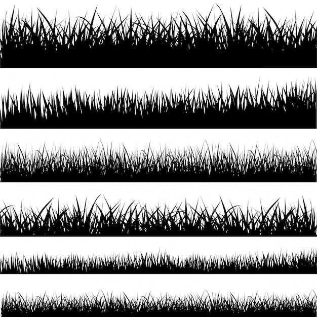 Ensemble de silhouettes d'herbe noire