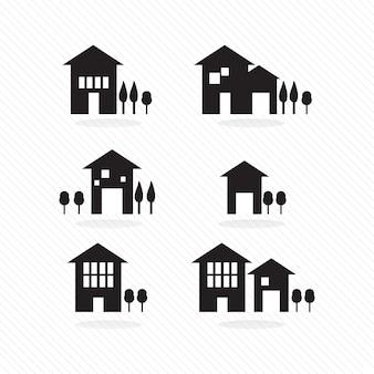 Ensemble de silhouettes de maisons sur fond blanc