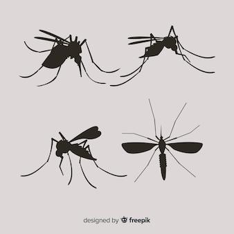 Ensemble de silhouettes de moustiques