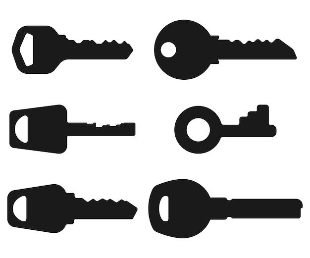 Ensemble de silhouettes noires vectorielles clés isolées sur fond blanc.