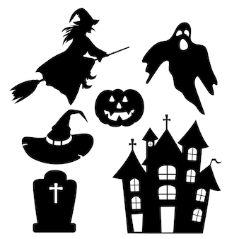 Ensemble de silhouettes pour la fête d'halloween