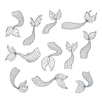 Ensemble de silhouettes de queue de sirène doodle.
