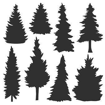 Ensemble de silhouettes de sapins. silhouettes de forêt
