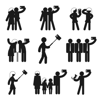 Ensemble de silhouettes de selfie.