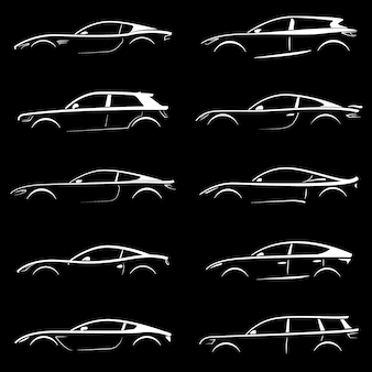 Ensemble de silhouettes de voitures.