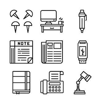 Ensemble simple de bureau associés vector icons line.