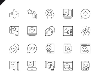 Ensemble simple d'icônes vectorielles liées à la rétroaction.