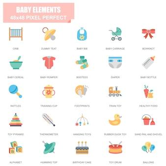 Ensemble simple d'éléments de bébé connexes vector icons plat