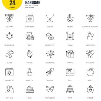 Ensemble simple de hanukah connexes icônes de ligne de vecteur