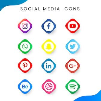 Ensemble simple d'icône de médias sociaux