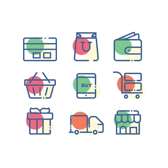 Ensemble simple d'icône shopping