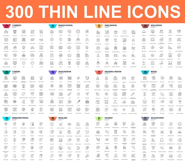 Ensemble simple d'icônes de fine ligne de vecteur