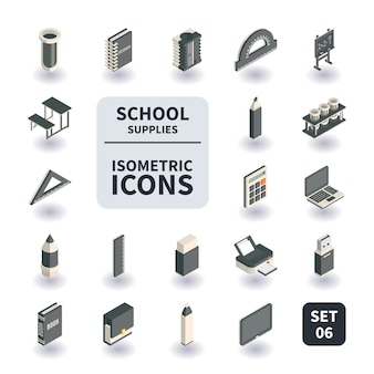 Ensemble simple d'icônes de fournitures scolaires et de bureau.