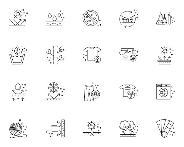 Ensemble simple d'icônes liées aux caractéristiques du tissu dans le style de ligne